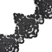 Nelly Embroidered Organza Lace Trim with Pearls and Sequin Black (Precut, 14 Yards)