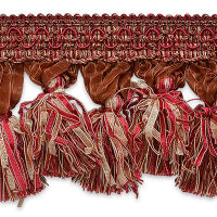Ribbon Tassel Fringe Trim Red Multi (Precut, 10 Yards)