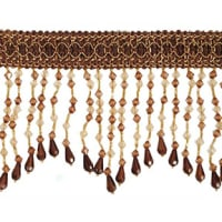 Kirsten Scalloped Bead Fringe Trim Cocoa Multi (Precut, 10 Yards)