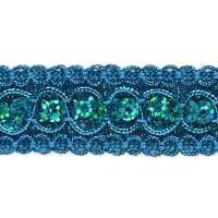 Trish Sequin Metallic Braid Trim Turquoise (Precut, 20 Yards)