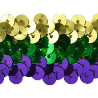 "3 Row 1 1/4"" Metallic Mardis Gras Stretch Sequin Trim Multi Colors (Precut, 20 Yards)"