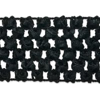 "1 3/4"" Crochet Stretch Trim Black (Precut, 20 Yards)"