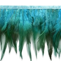 Jaylo Feather Fringe Trim Turquoise (Precut, 5 Yards)