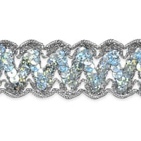 Nikki Sequin Metallic Braid Trim Silver (Precut, 20 Yards)
