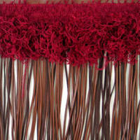 "9"" Leather And Hairy Gimp Fringe Trim Burgundy Multi (Precut, 10 Yards)"