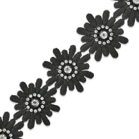 Krystal Rhinestone Daisy Flower Trim Black (Precut, 15 Yards)