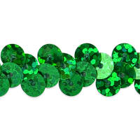 "1 Row 3/8"" Starlight Hologram Stretch Sequin Trim Green (Precut, 20 Yards)"