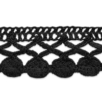 Sadie Machine Crocheted Trim Black (Precut, 10 Yards)