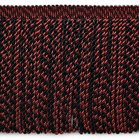 "Lauren Brooks 8"" Bullion Fringe Trim Black/Red (Precut, 10 Yards)"