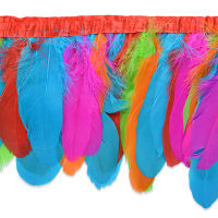 Iva's Party Feather Fringe Trim Multi Colors (Precut, 5 Yards)