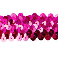 "3 Row 1 1/4"" Met. Stretch Sequin Trim Fuchsia (Precut, 20 Yards)"