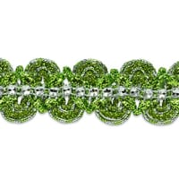 Eva Faux Rhinestone Metallic Braid Trim Lime/Silver (Precut, 20 Yards)