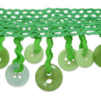 Ella Crochet Button Fringe Trim Lime Multi Colored (Precut, 10 Yards)