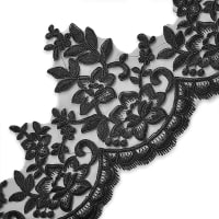 "Brenda 7 1/2"" Embroidered Lace Trim Black (Precut, 14 Yards)"