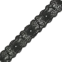 "Amara 1 1/8"" Stretch Raschel Lace Trim Black (Precut, 10 Yards)"