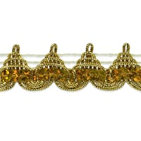 "Averil 3/4"" Pointed Sequin Braid Trim Gold (Precut, 20 Yards)"