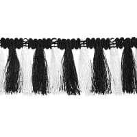 "Lulu Tassel Fringe Trim 1 1/2"" Black/White (Precut, 9 Yards)"