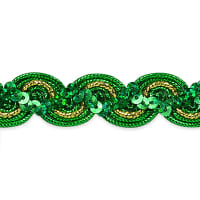 April Sequin Metallic Braid Trim Green (Precut, 20 Yards)