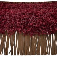 "6"" Leather And Hairy Gimp Fringe Trim Burgundy Multi (Precut, 10 Yards)"