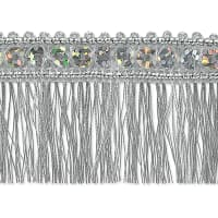 Esther Sequin Metallic Fringe Trim Silver (Precut, 10 Yards)
