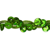 Alison Wavy Sequin Braid Trim Lime (Precut, 20 Yards)