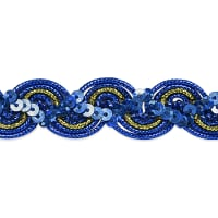 April Sequin Metallic Braid Trim Royal Blue (Precut, 20 Yards)