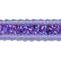 Single Row Starlight Hologram Sequin with Sparkle Edge Trim Purple (Precut, 20 Yards)