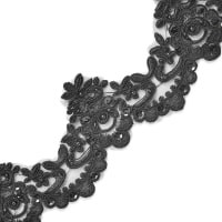 Nisha Embroidered Organza Lace Trim with Pearls and Sequin Black (Precut, 14 Yards)