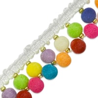 Tianna Beaded Pom Pom Trim Multi Colors (Precut, 13 Yards)