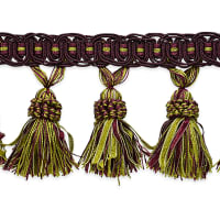 Pinecone Tassel Fringe Trim Sage Multi (Precut, 10 Yards)