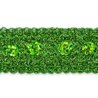 Adriana Sequin Metallic Braid Trim Lime (Precut, 20 Yards)
