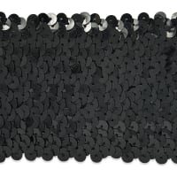 8 Row Sequin Stretch Black (Precut, 10 Yards)