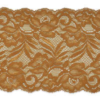 "Brea 5 1/2"" Stretch Raschel Lace Trim Cocoa (Precut, 10 Yards)"