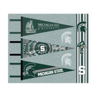 NCAA Michigan State Spartans Pennants (Set of 3 Unique Poly Felt Designs)