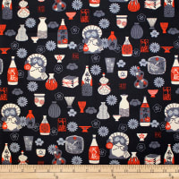 Trans-Pacific Textiles Oriental Tanuki and Sake Black
