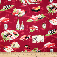 Trans-Pacific Textiles Oriental Conversational Sushi Red