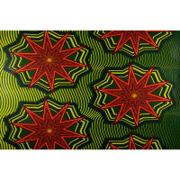 Vlisco Java Holland Wax Rainbox Star 6 Yards Red, Green, Yellow