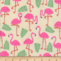 Plush Fleece Flamingo Cream