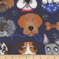 Plush Fleece Dog Faces Navy