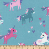 Plush Fleece Unicorn Heart Lt Blue