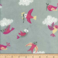 Plush Fleece Birds Grey