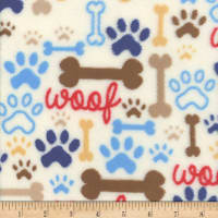 Plush Fleece Bone Woof White
