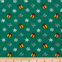 Cotton Spandex Jersey Knit Gifts and Snowflakes kelly Green/Yellow