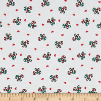Cotton Spandex Jersey Knit Candy Cane Love Red/Green
