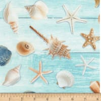 Timeless Treasures Beach Is My Happy Place Allover Seashells Aqua