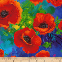 Timeless Treasures Digital I Dream Of Poppy Allover Poppies Royal