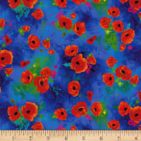 Timeless Treasures Digital I Dream Of Poppy Poppy Bunches Blue