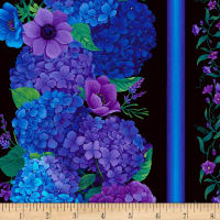 "Timeless Treasures Digital Misty 11"" Hydrangea Stripe Black"