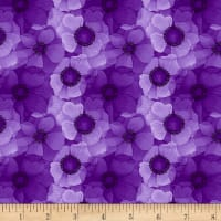 Timeless Treasures Digital Misty Packed Flower Purple