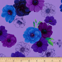 Timeless Treasures Digital Misty Allover Flowers Violet